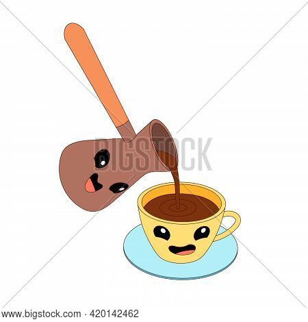 Cartoon Cezve And Cup With Coffee. Cezve  Is Pouring Coffee Into A Cup, Cezve And Cup Are Emoji.