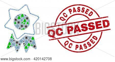 Winter Viral Collage Award Badge, And Grunge Qc Passed Red Round Stamp. Collage Award Badge Is Organ