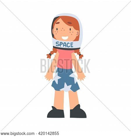 Smiling Girl Wearing Space Helmet Playing Pretending Being Astronaut Vector Illustration