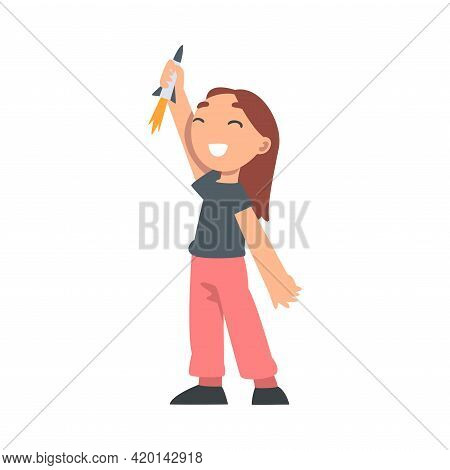 Cute Girl Playing With Toy Spacecraft Vector Illustration