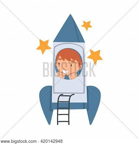 Smiling Boy Playing With Spacecraft Pretending Being Astronaut Vector Illustration