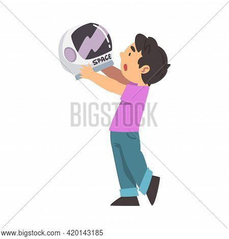 Smiling Boy Holding Space Helmet Playing Pretending Being Astronaut Vector Illustration