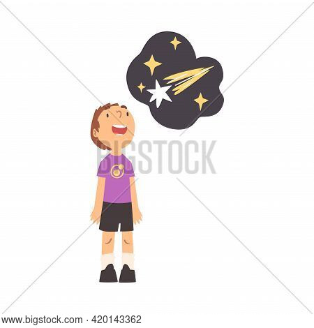 Excited Boy Standing And Watching Space And Galaxy In Planetarium Vector Illustration