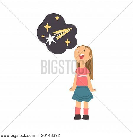 Excited Girl Standing And Watching Space And Galaxy In Planetarium Vector Illustration