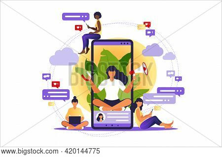 Woman With Megaphone On Screen Mobile Phone And Young People Surrounding Her. Vector Illustration In