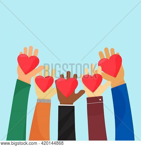 Ampathy And Charity. Give Love Vector. Compassion Concept, Peace And Philanthropy. Raise Hands Holdi