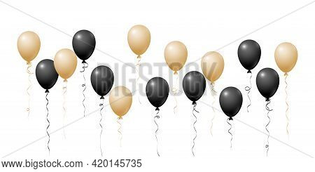Chic Gold Black Flying Balloons Isolated Vector Illustration, Birthday Party Decoration Elements. Br