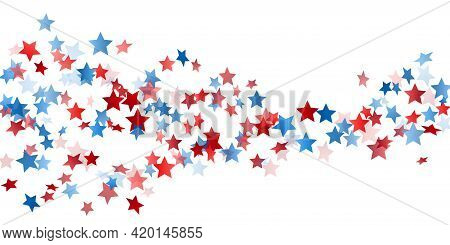 American Independence Day Stars Background. Holiday Confetti In Us Flag Colors For July 4 Independen