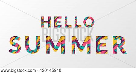 Hello Summer Calligraphic Text With Paper Cut Origami Effect Background. Summer Card With Greeting T