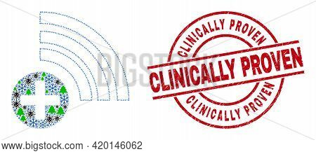 Winter Viral Mosaic Medical Source, And Clinically Proven Red Round Stamp Print. Collage Medical Sou
