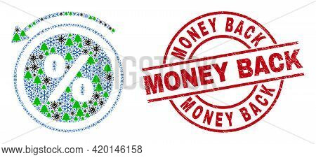 Winter Covid-2019 Composition Percent Back, And Rubber Money Back Red Round Seal. Collage Percent Ba