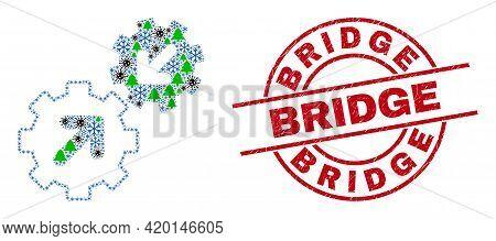 Winter Coronavirus Combination Integration Gears, And Bridge Red Round Stamp Imitation. Collage Inte