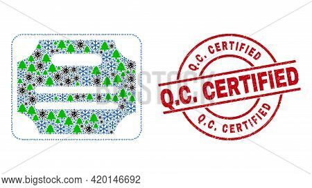 Winter Covid-2019 Collage Certificate Diploma, And Grunge Q.c. Certified Red Round Stamp Imitation.