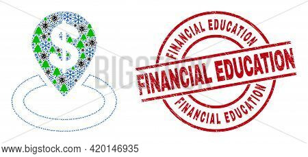 Winter Pandemic Mosaic Bank Location, And Grunge Financial Education Red Round Stamp Seal. Collage B