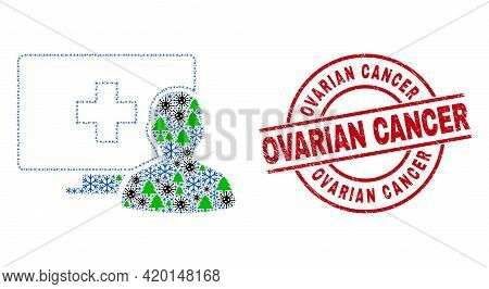 Winter Covid-2019 Collage Online Medical Patient, And Rubber Ovarian Cancer Red Round Stamp Seal. Mo