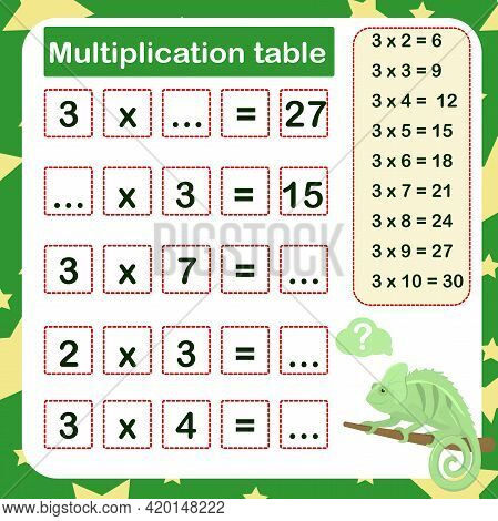 Vector Illustration Of The Multiplication Table By 3 With A Task To Consolidate The Knowledge Of Mul