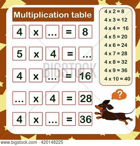 Vector Illustration Of The Multiplication Table By 4 With A Task To Consolidate The Knowledge Of Mul