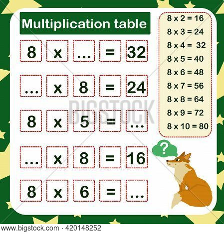Vector Illustration Of The Multiplication Table By 8 With A Task To Consolidate The Knowledge Of Mul