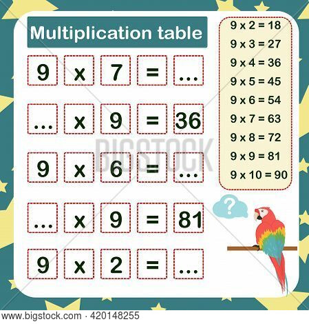Vector Illustration Of The Multiplication Table By 9 With A Task To Consolidate The Knowledge Of Mul