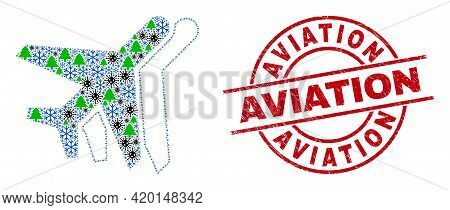 Winter Covid Composition Aviation, And Aviation Red Round Stamp Imitation. Collage Aviation Is Forme