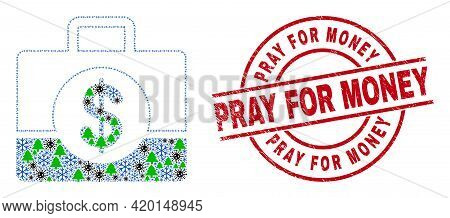 Winter Covid-2019 Collage Business Case, And Textured Pray For Money Red Round Watermark. Mosaic Bus