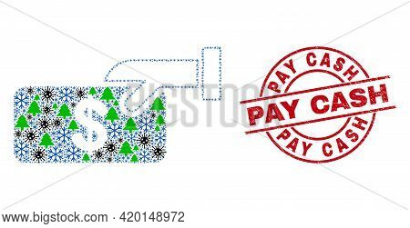 Winter Covid-2019 Collage Pay Cash, And Grunge Pay Cash Red Round Stamp Imitation. Mosaic Pay Cash I