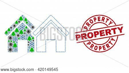 Winter Covid Collage Houses, And Rubber Property Red Round Watermark. Collage Houses Is Constructed