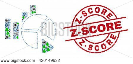 Winter Coronavirus Collage Statistics Charts, And Scratched Z-score Red Round Stamp Seal. Collage St