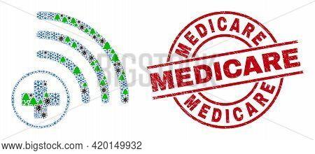 Winter Pandemic Composition Medical Source, And Rubber Medicare Red Round Stamp Print. Collage Medic