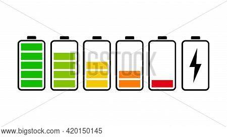 Battery Icons Set Level Indicators. Battery Life, Accumulator, Battery Running Low, Battery Rechargi