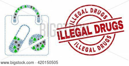Winter Coronavirus Collage Drugs Shopping Bag, And Unclean Illegal Drugs Red Round Seal. Collage Dru