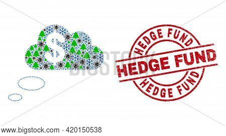 Winter Pandemic Collage Financial Dream Clouds, And Rubber Hedge Fund Red Round Stamp. Collage Finan