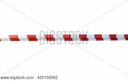 Red And White Safety Tape Isolated On A White Background