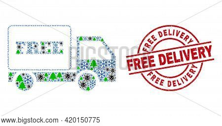 Winter Covid-2019 Collage Free Delivery, And Unclean Free Delivery Red Round Stamp Print. Collage Fr