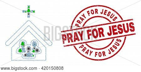 Winter Covid Collage Church People, And Textured Pray For Jesus Red Round Seal. Collage Church Peopl