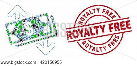 Winter Covid Combination Banknotes Exchange Arrows, And Textured Royalty Free Red Round Stamp Seal.