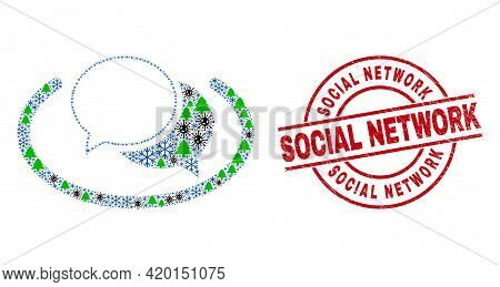 Winter Coronavirus Collage Social Network Messages, And Dirty Social Network Red Round Stamp Seal. C