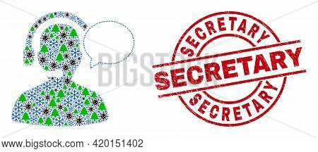 Winter Coronavirus Collage Operator Message, And Secretary Red Round Stamp Seal. Collage Operator Me