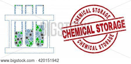 Winter Pandemic Mosaic Chemical Test Tubes, And Scratched Chemical Storage Red Round Stamp Seal. Mos