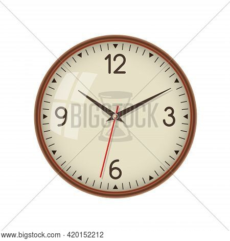 Wall Ordinary Simple Clock. Classic. Minimalism. Isolated White Background. Vector Illustration.