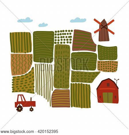 Hand Drawn Village Landscape Map With Windmill, Tractor, Barn House, Roads And Fields. Agriculture C