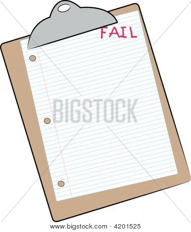 Clip Board With Lined Paper And Fail.