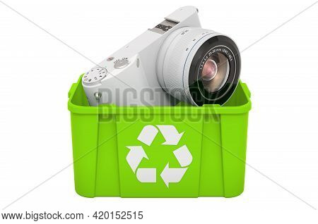 Recycling Trashcan With Mirrorless Digital Camera, 3d Rendering Isolated On White Background