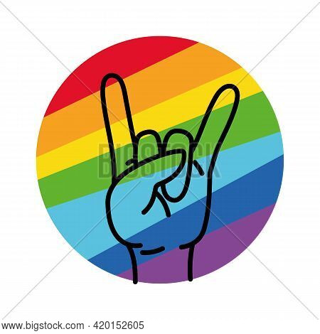 Rainbow Hand Love Sign Vector. Rock Hand Gesture On Rainbow Background. Lgbt Community Logo. Rock Sy