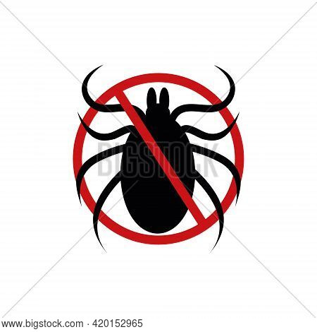 Stop Mite Icon. Anti Tick Forbidden Sign For Insect Spray Killer Repellent Isolated On White Backgro