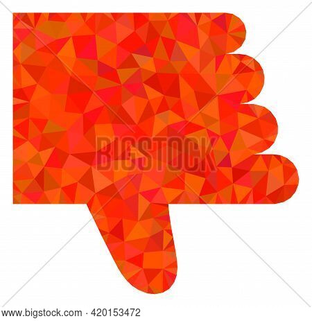 Triangle Thumb Down Polygonal Icon Illustration. Thumb Down Lowpoly Icon Is Filled With Triangles. F