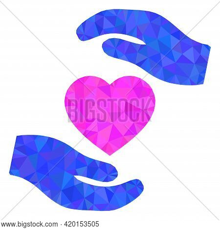 Triangle Favourite Heart Care Hands Polygonal Icon Illustration. Favourite Heart Care Hands Lowpoly