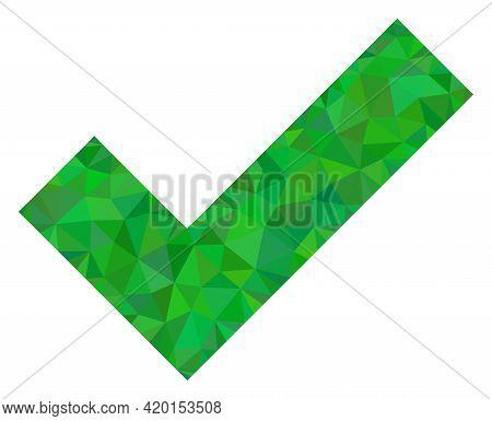 Triangle Apply Tick Polygonal Icon Illustration. Apply Tick Lowpoly Icon Is Filled With Triangles. F
