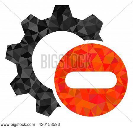 Triangle Remove Settings Gear Polygonal Icon Illustration. Remove Settings Gear Lowpoly Icon Is Fill