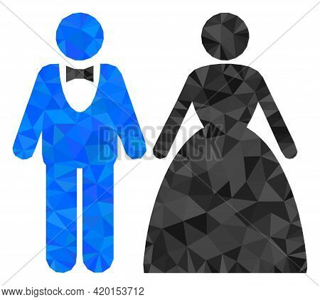 Triangle Groom With Bride Polygonal Symbol Illustration. Groom With Bride Lowpoly Icon Is Filled Wit